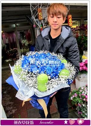 荷蘭進口藍玫瑰33朵y34324