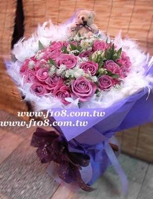 浪漫紫玫瑰花束33朵台灣高山<BR>情人節限定款G353