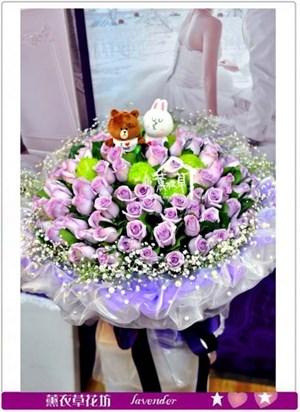 進口紫玫瑰花束~情人節限定款A021302