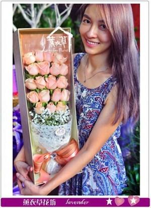 香檳玫瑰歐式花盒設計b080711