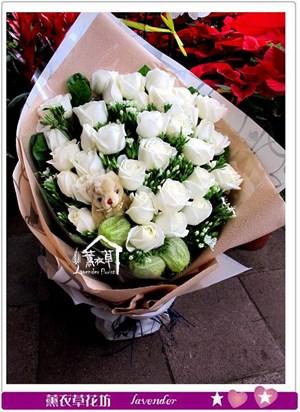 b122102白玫瑰33朵花束