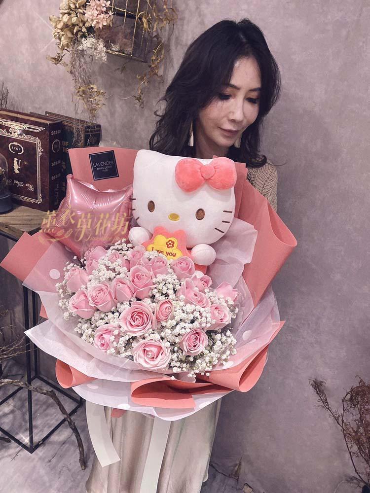凱蒂貓+粉玫瑰花束108111409