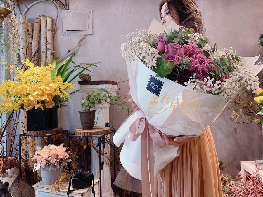 大型花束~荷蘭進口紫玫瑰20朵 10708173020