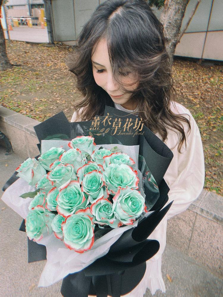 進口~薄荷綠玫瑰花束109020906