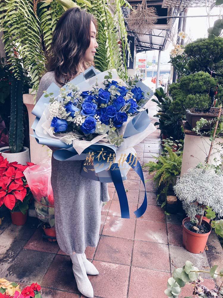 荷蘭空運!藍色玫瑰花花束108071505